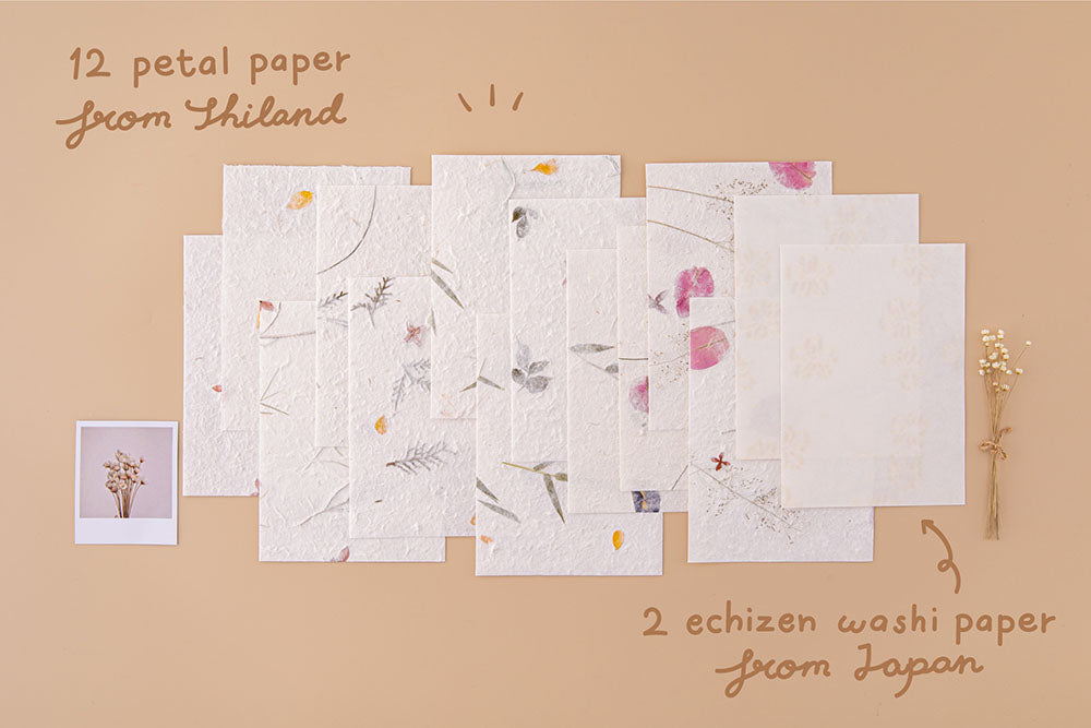 Tsuki Handmade Petal Papers with twelve petal papers from Thailand and two Echizen washi papers from Japan with polaroid picture and dried flowers on beige background