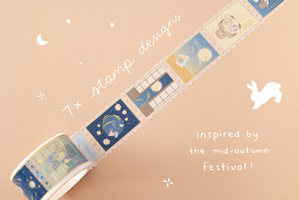 Tsuki 'Moonlit Wish' Washi Stamp Washi Tape with seven stamp designs inspired by the mid-autumn festival on light brown background