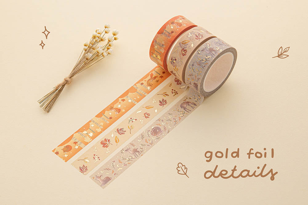 Tsuki 'Maple Dreams' Washi Tapes with gold foil details with dried flowers on cream background