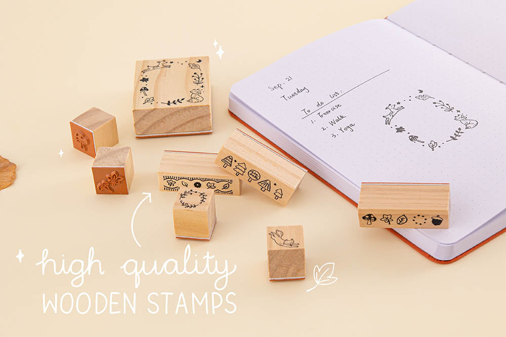 Tsuki 'Maple Dreams' Bullet Journal Stamp Set with high quality wooden stamps and Tsuki 'Kitsune' Limited Edition Fox Bullet Journal on cream background