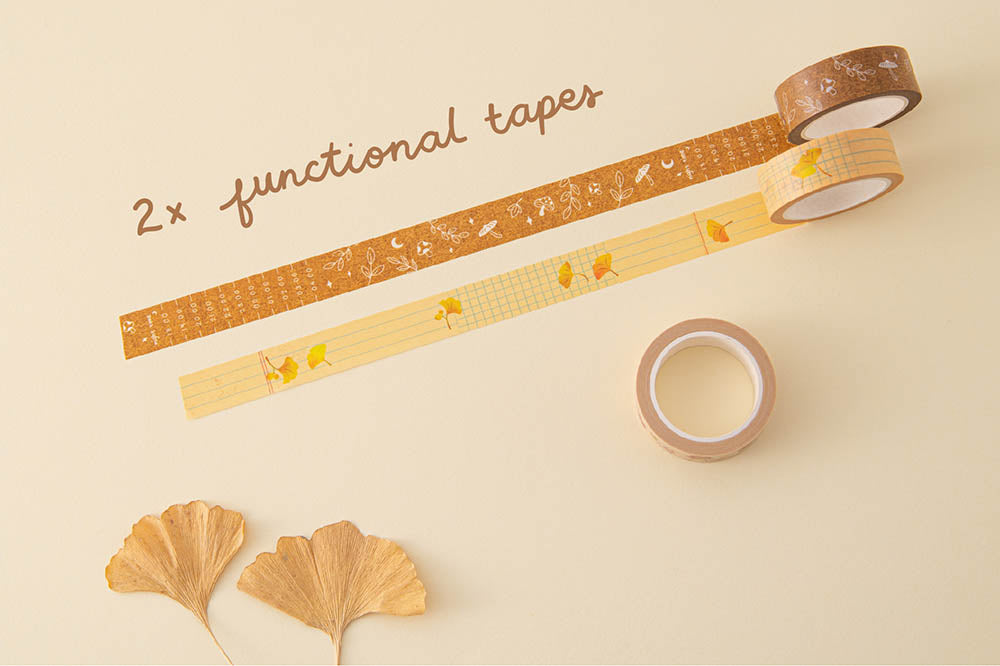 Tsuki 'Maple Dreams' two functional Washi Tapes with autumn leaves on cream background