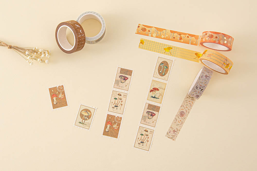 Tsuki 'Maple Dreams' Washi Tapes with dried flowers on cream background