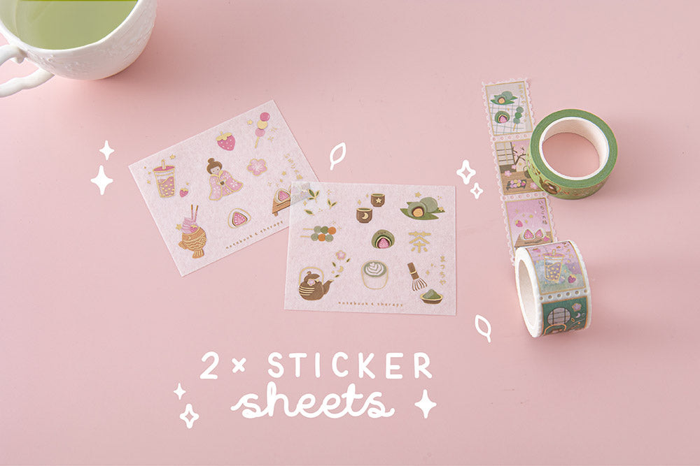 Tsuki 'Matcha Ichigo' Washi Tapes with two free sticker sheets with teacup on light pink background