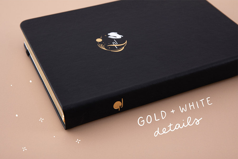 Tsuki 'Moonlit Wish' Limited Edition Bullet Journal with gold and white details on light brown background