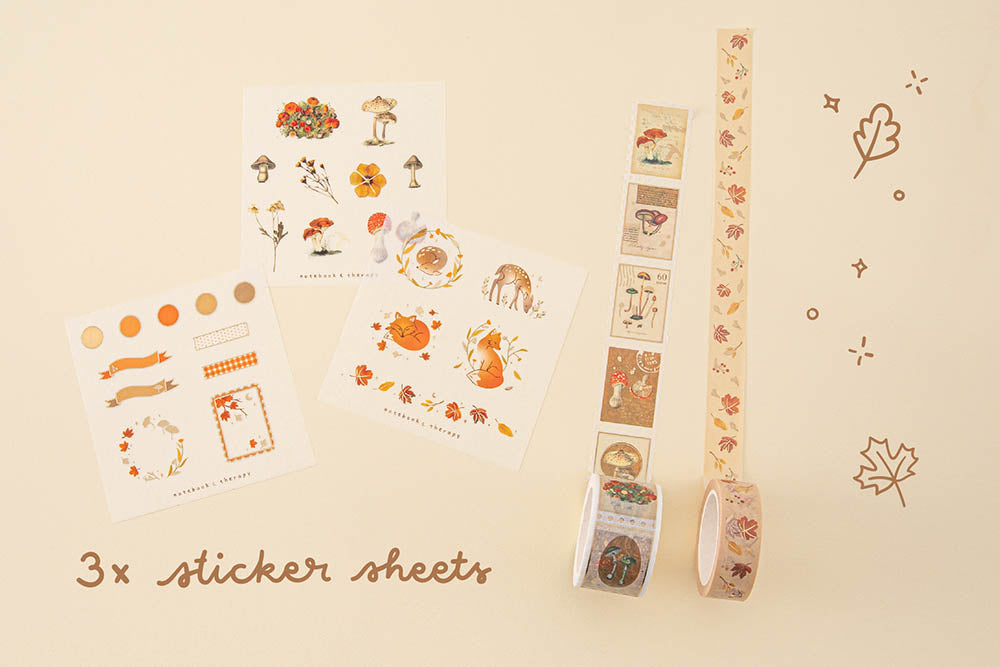Tsuki 'Maple Dreams' Washi Tapes with three free stickers sheets on cream background
