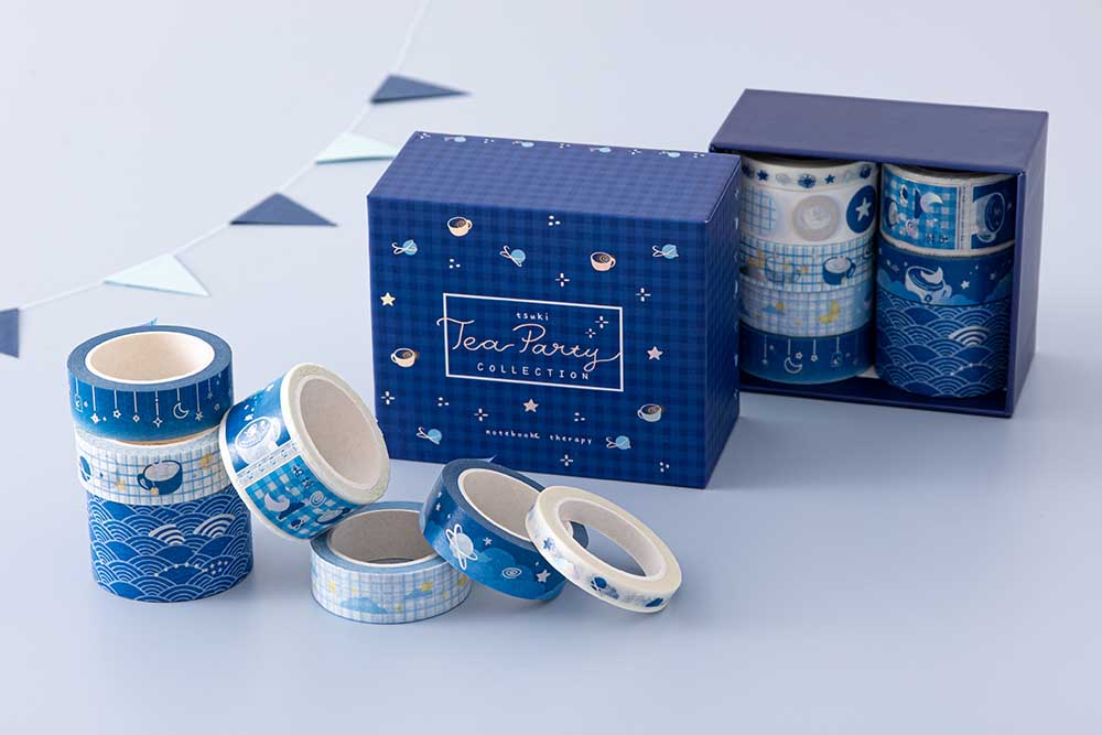 Tsuki 'Cup of Galaxy' Washi Tape Set with bunting in light blue background