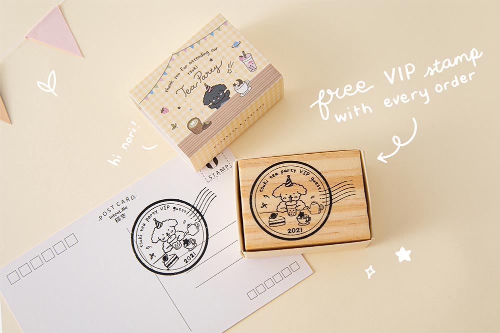 Tsuki Tea Party Collection free VIP two year Tsiki Anniversary Stamp with postcard on beige background