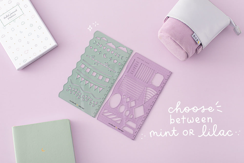 tsuki mint and lilac, pop up pencil case and green mint pastel notebook in purple background