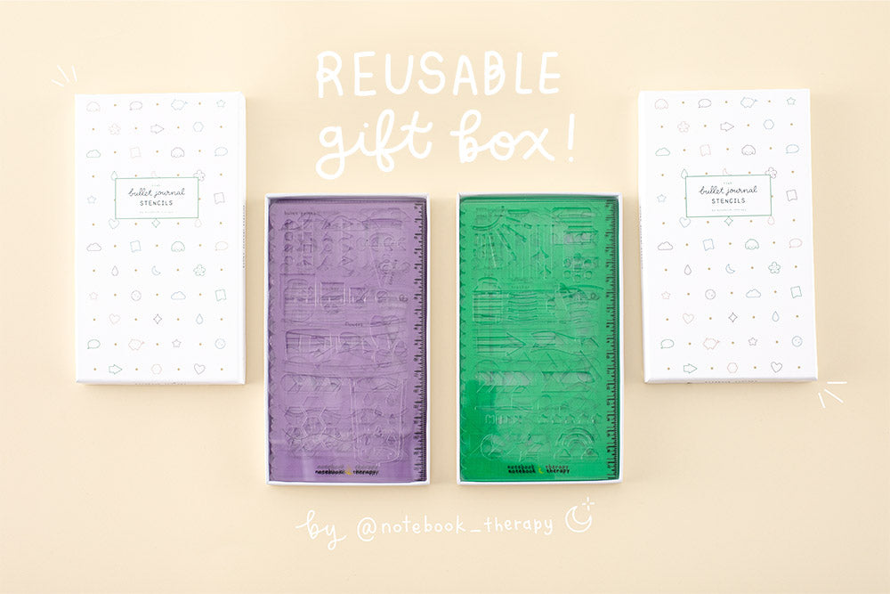 reusable tsuki gift box with mint and lilac stencils in the box in yellow background