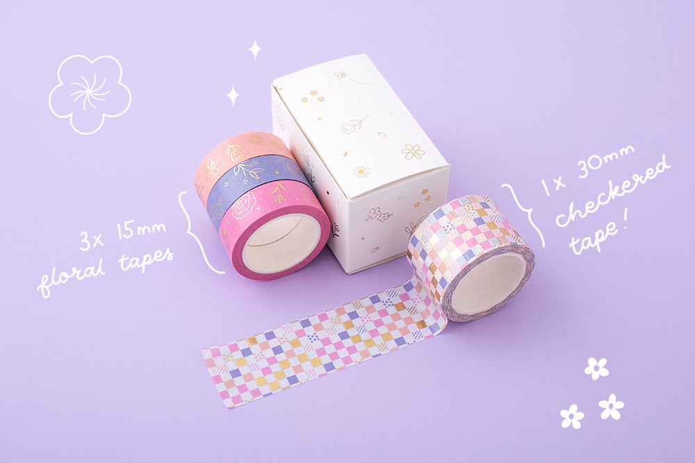 Tsuki Floral collection washi tapes outside box packaging with 2 sizes on lilac background