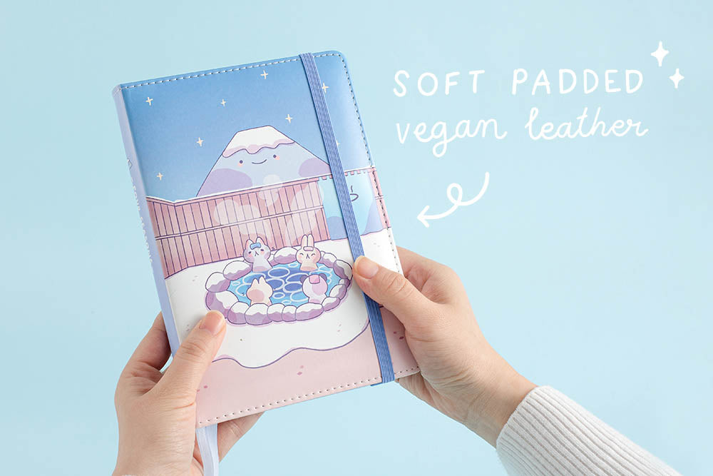 Kawaii Onsen notebook with soft padded vegan leather