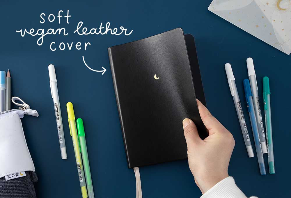vegan soft leather cover midnight black notebook