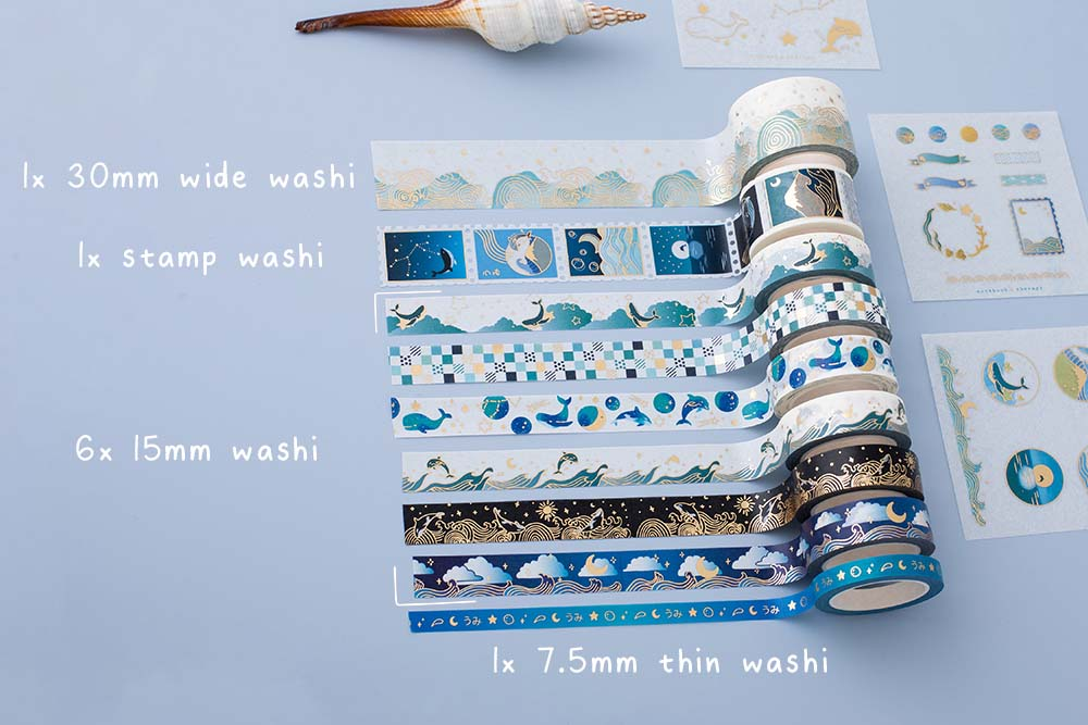 Set of nine Tsuki Ocean Edition Washi Tapes with different sizes with seashell on blue background