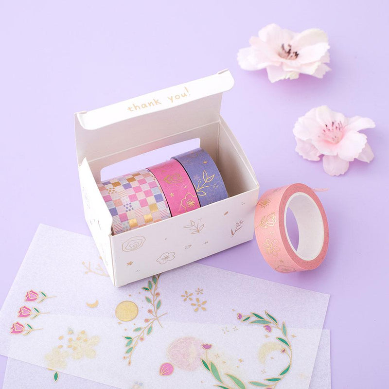 Tsuki 'Floral' Washi Tapes + Stickers Set ☾