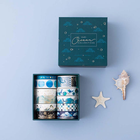 Tsuki Ocean Edition Washi Tapes and sticker sheet set with reusable eco-friendly gift box and starfish and seashell on blue background
