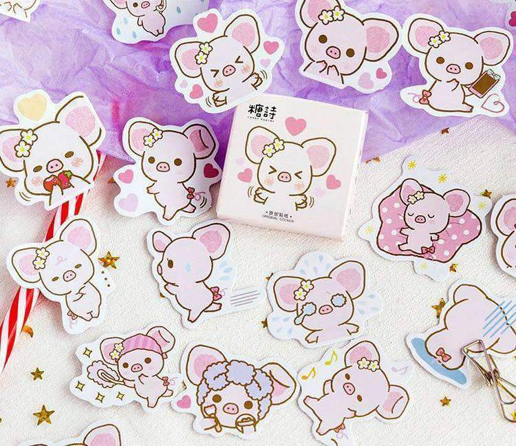 Kawaii Piggy Sticker Set