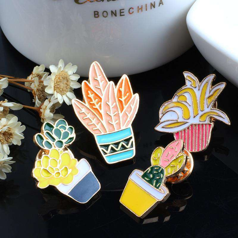 Potted Plants Enamel Pins - Set of 4