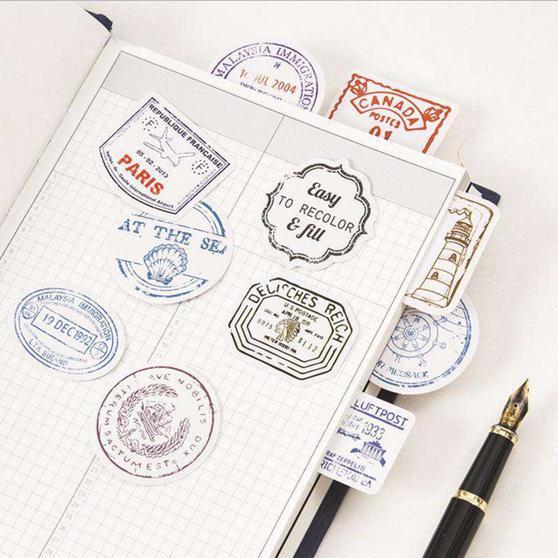 Travel Postmark Stickers