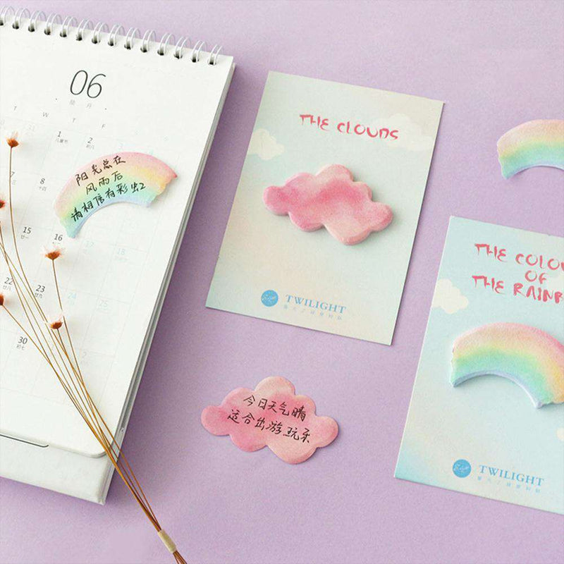 Rainbow and Cloud Sticky Notes - Set of 4