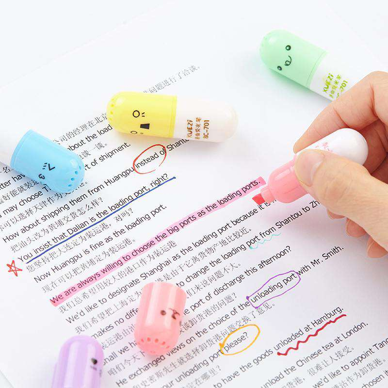 Cute Capsule Mini Highlighters Set
