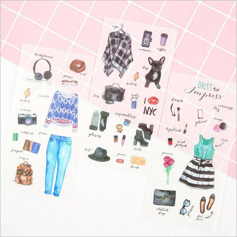 Cute Girls Wardrobe PVC Stickers
