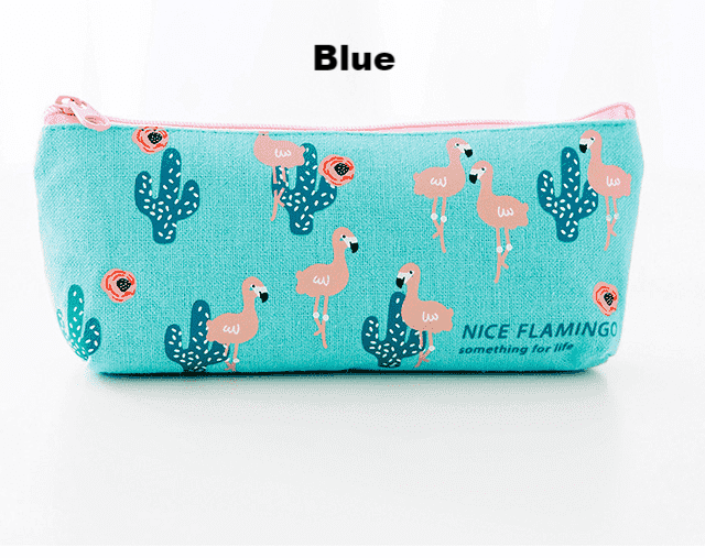 Kawaii Flamingos Canvas Pencil Case