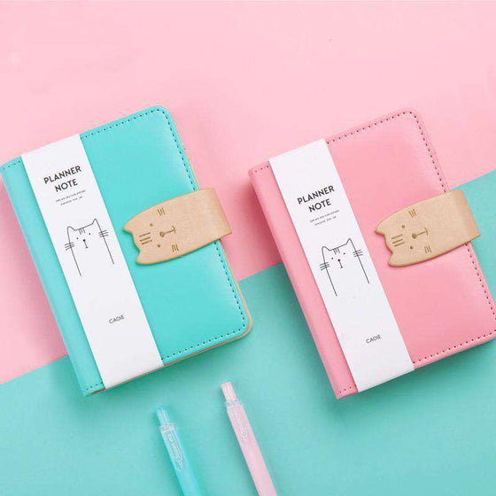 Kawaii Cat Mini Faux Leather Journal Set