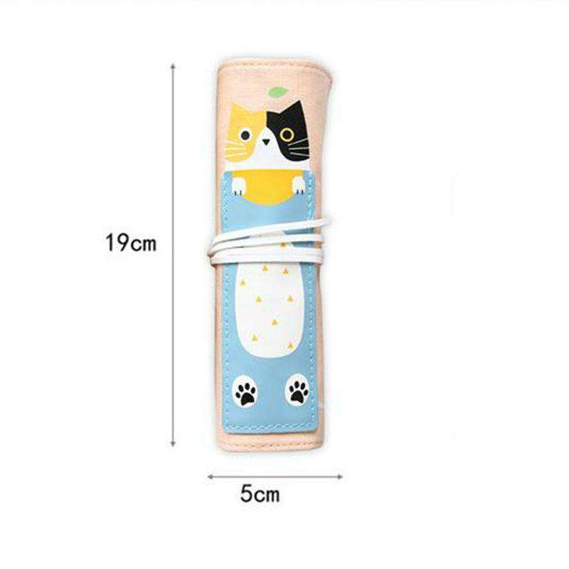 Cute Cat Roll Up Pencil Case