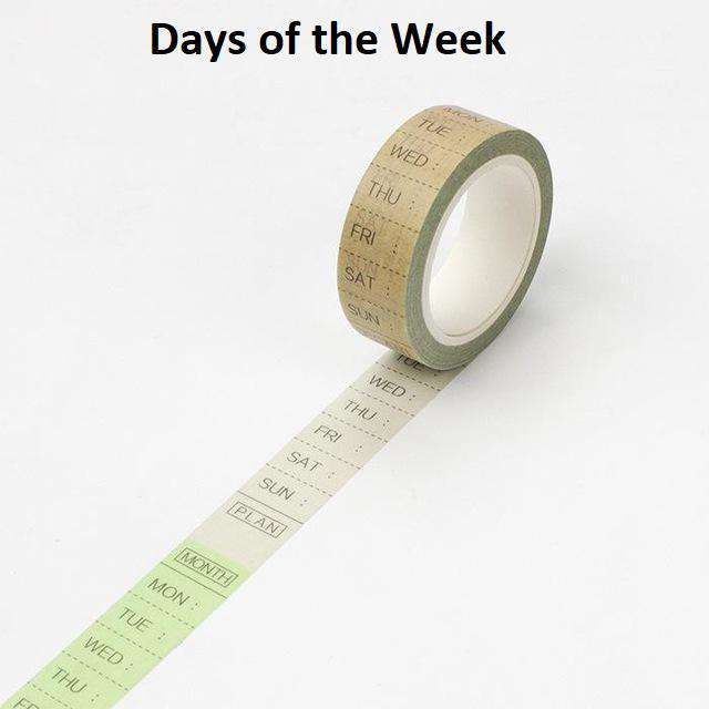 Weekday and Clock Time Washi Tape