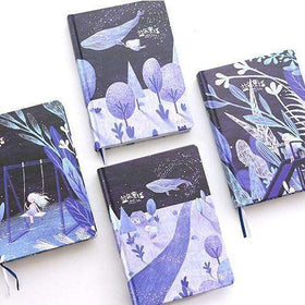 Blue Fairy Tale Notebook with Mixed Unique Art Pages
