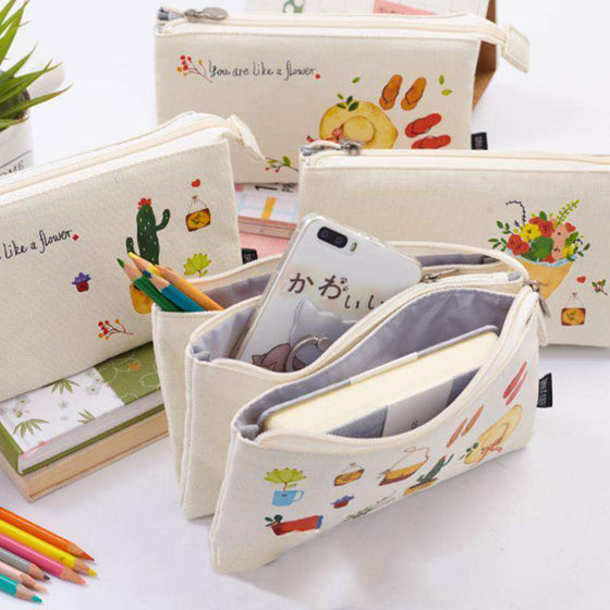 Kawaii Canvas Lifestyle Pencil Case