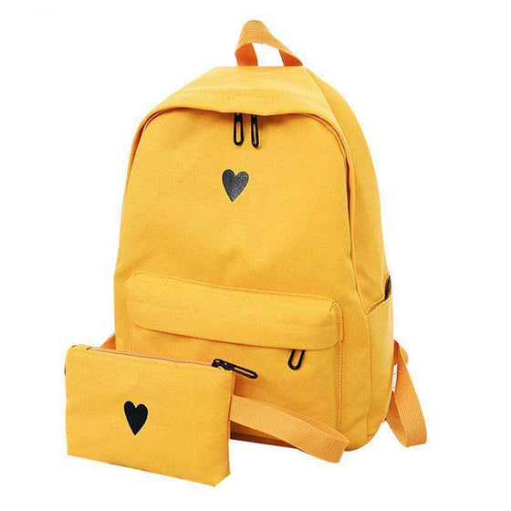 Korean Style Heart Backpack + Make up bag