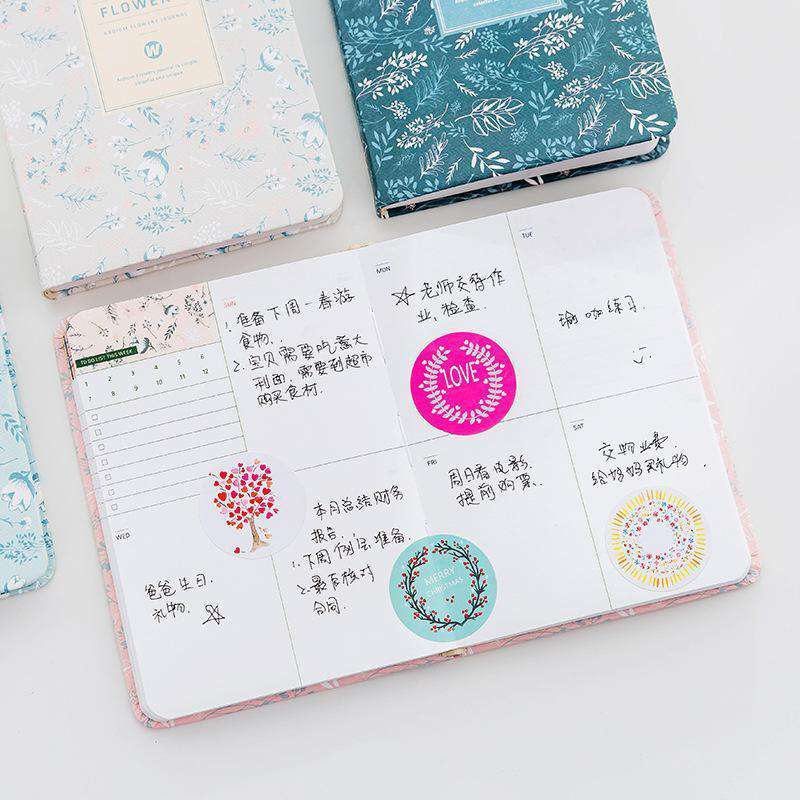Vintage Flowery Leather Planner - A6