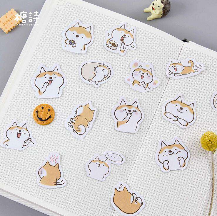 Cute Cartoon Shiba Stickers Set