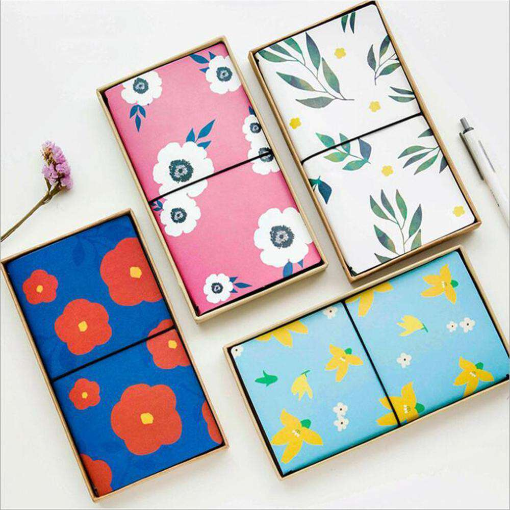 Vibrant Flower Leather Travel Planner