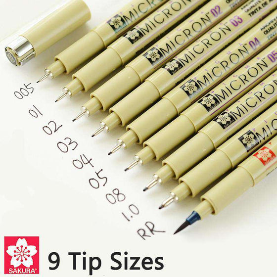 Sakura Pigma Micron Pen - Set of 9