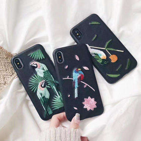 Luxury Embroidered Birds iPhone Case