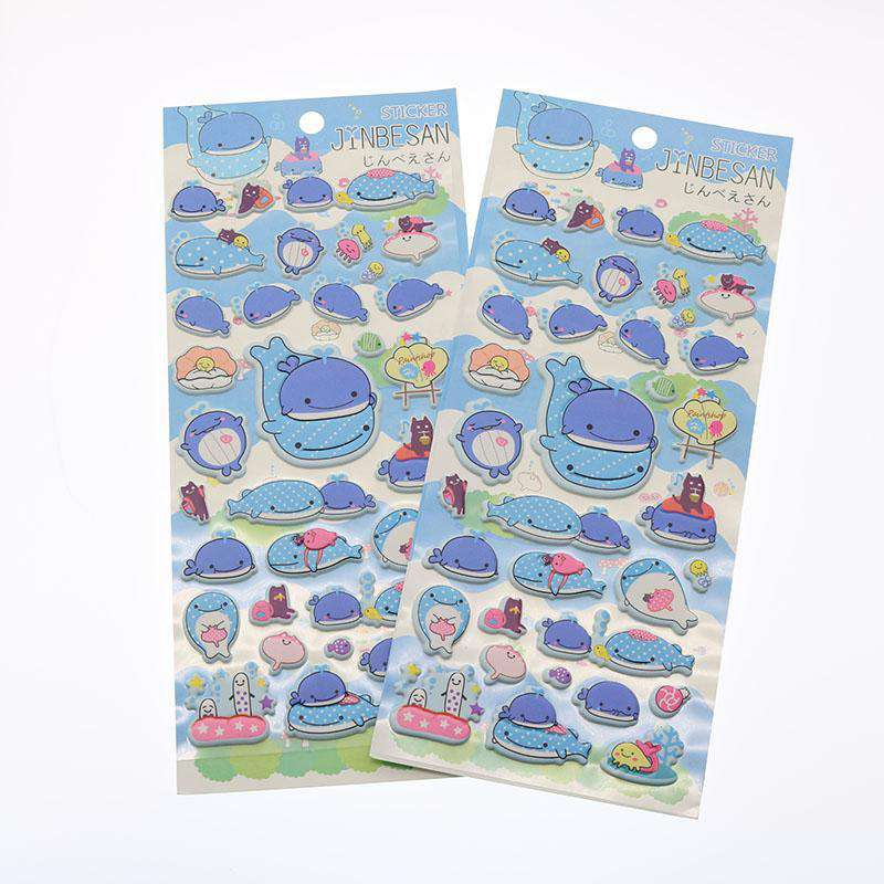 Cute Bubble Whale Stickers - Set of 2