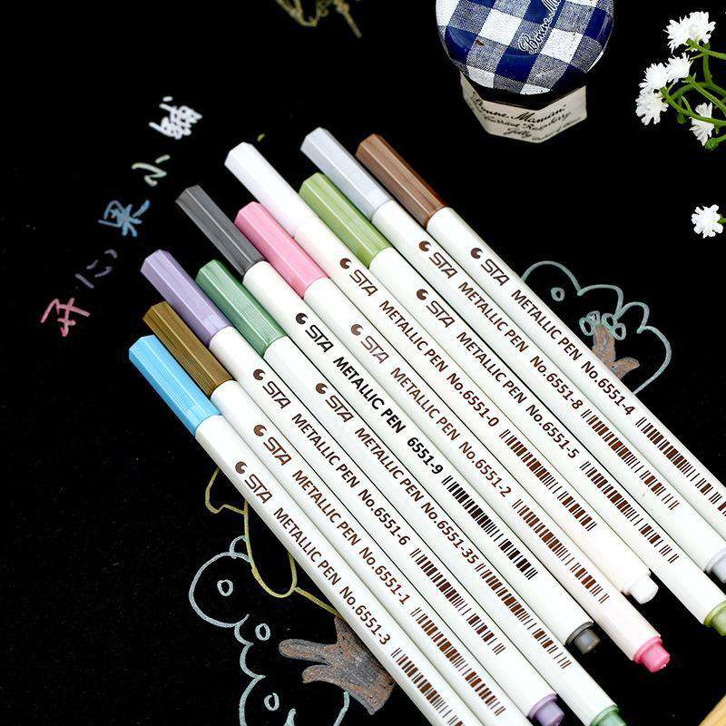 STA Metallic Artist Marker Brush Pens - Set of 10!