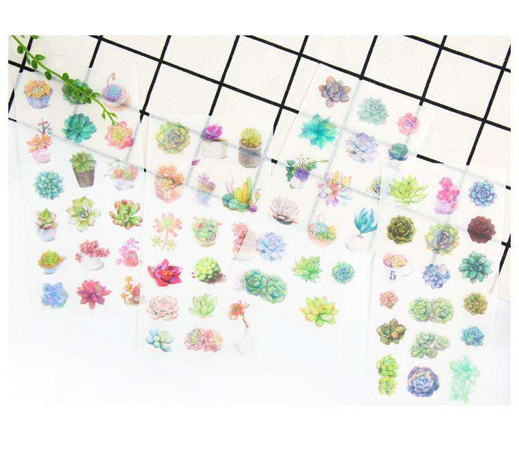 Watercolour Succulent Sticker Set - 6 sheets included!