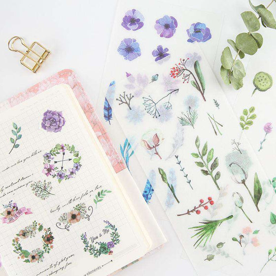 Watercolour Plants + Flowers Sticker Set - Includes 6 sheets!
