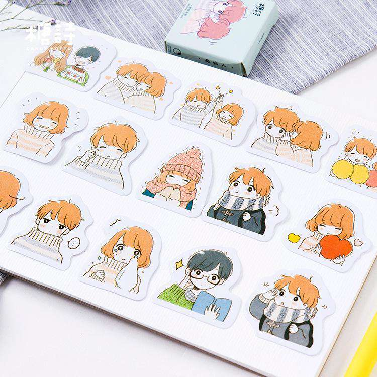 Cute Couple Stickers Set