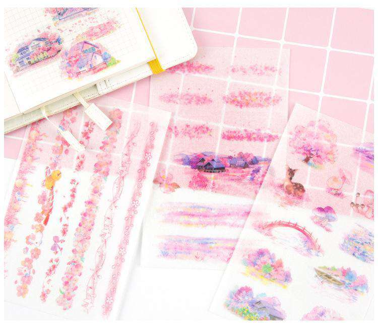 Romantic Sakura Sticker Set - Includes 6 Sheets!
