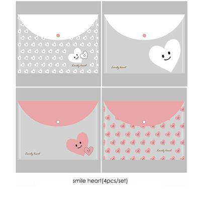 Heart and Smile Transparent Folders - Set of 4