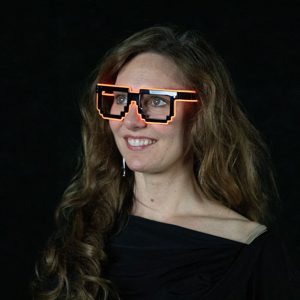 Digital: Lumio Designs EL Wire light up Minecraft glasses for festivals, events and raves