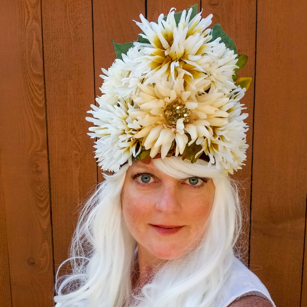 Ivory: Lumio Designs cream flowered lit LED festival headdress