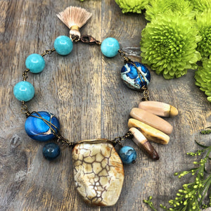 Aqua Autumn DIY Bracelet by Halcraft Collection