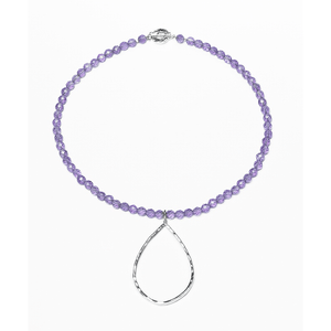 Amethyst, Faceted, Round, Hammered, Teardrop, Silver Plated, Natural Stone, Silver, Necklace