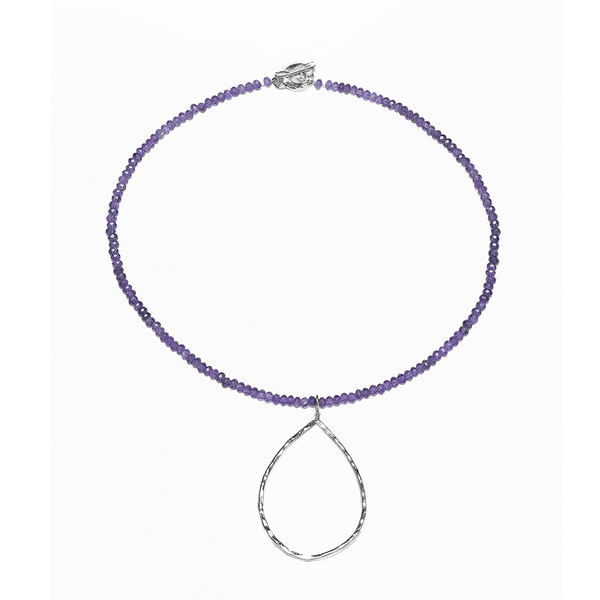 Amethyst, Round, Hammered, Teardrop, Silver Plated, Natural Stone, Necklace, Silver