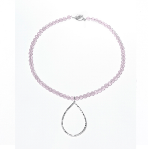 Rose Quartz Hamm ered Teardrop NecklaceJewelry by Halcraft Collection